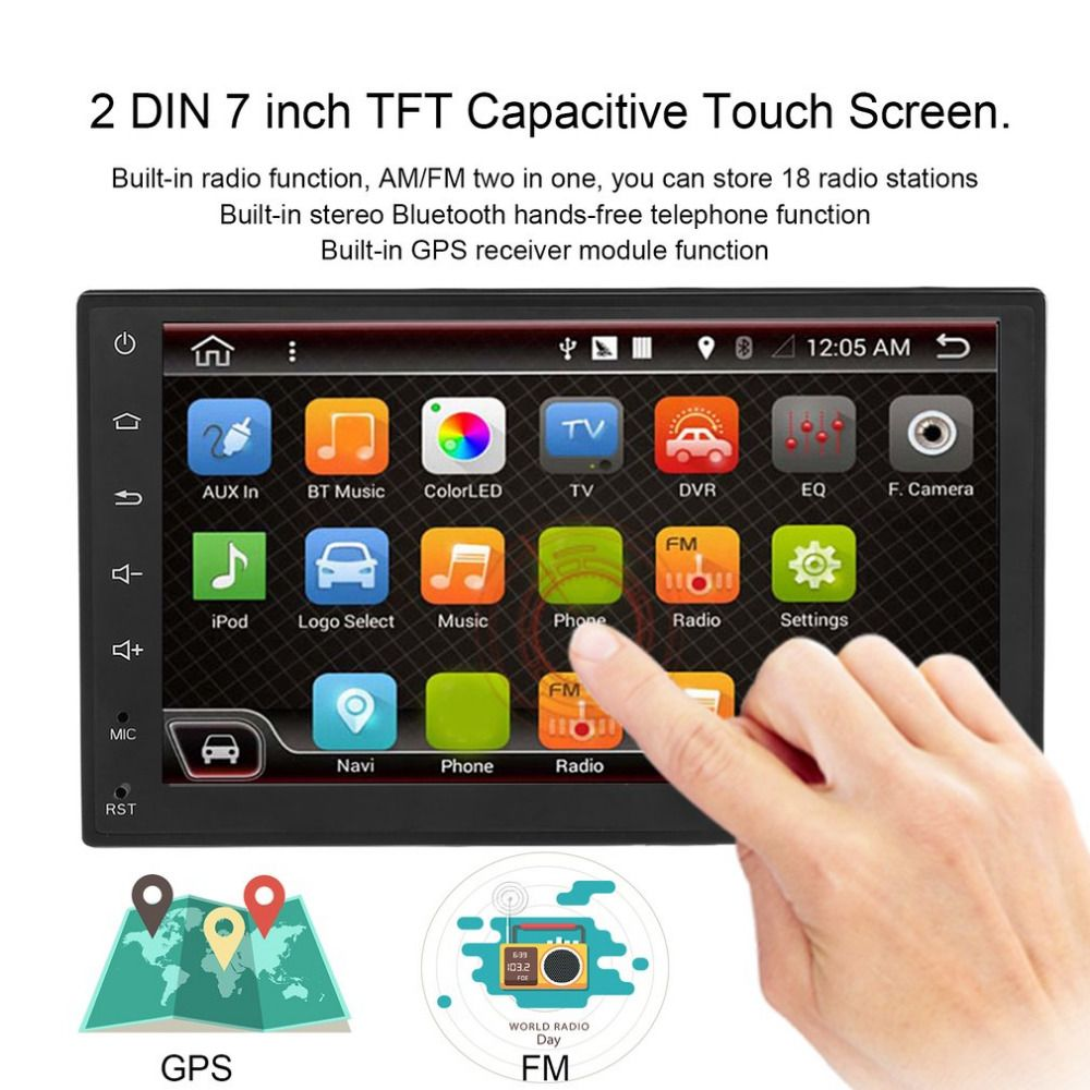 Foval 7 Inch 2DIN Double DIN GPS Navigation Car MP4/MP5 Video Stereo Audio Player Support Radio & Wifi Function For Android 6.0