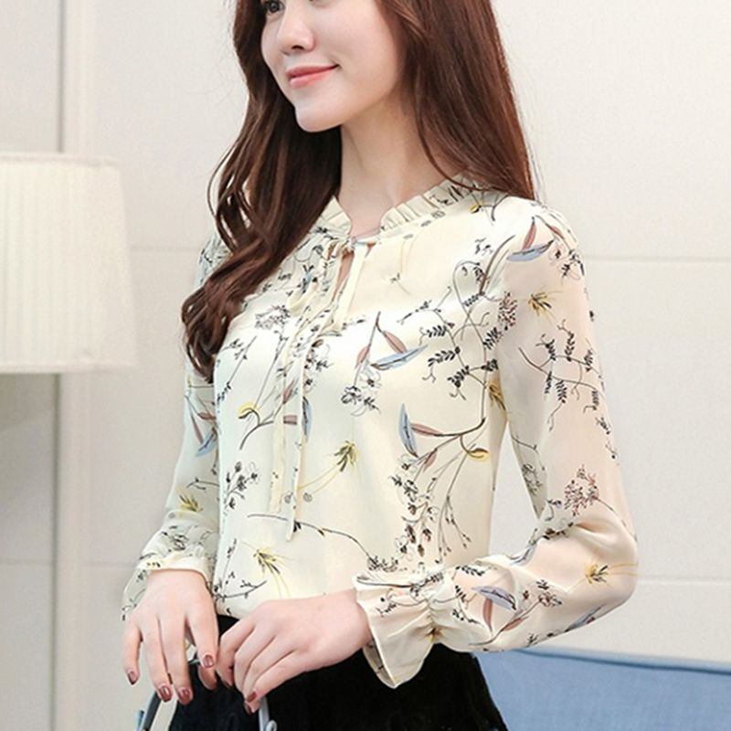 Women Spring Tops Chiffon Blouses And Shirts Ladies Floral Print Feminine Blouse Long Sleeve Blusas Femme Plus Size Tops Female