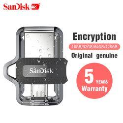 Asli SanDisk SDDD3 Tinggi Ekstrim Kecepatan 150 M/S Dual OTG USB Flash Drive 64GB 128GB 32GB 16GB Pen Drive USB3.0 Flashdisk Asli