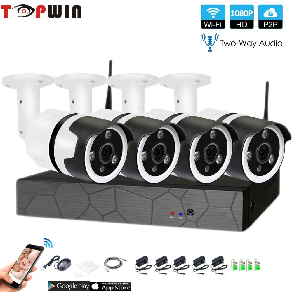 4CH zwei weg audio sprechen HD Wireless NVR Kit P2P 1080 p Indoor Outdoor IR Nachtsicht Sicherheit 2.0MP IP kamera WIFI CCTV System