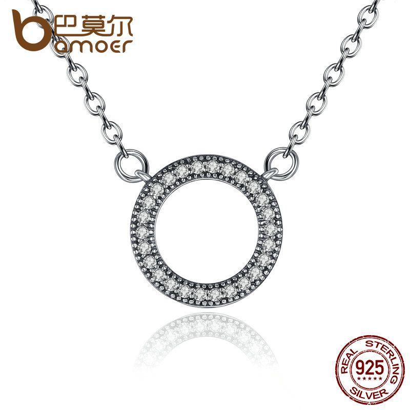 BAMOER 925 Sterling Silver Hearts Of Brand Clear Round Shape CZ Pendant Necklaces for Women Party Jewelry PSN010