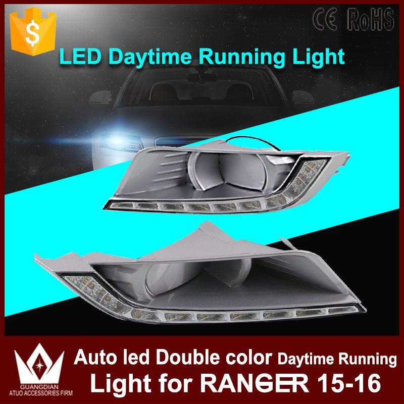 Tcart 1 Satz Auto LED Tagfahrlicht DRL Für Ford Ranger 2015 2016 Auto Led Weiß + Gelb Nebelscheinwerfer Mit Gelb Blinker