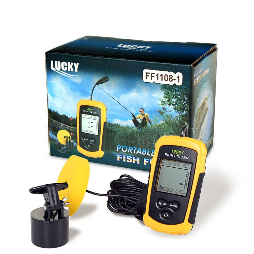 Lucky FF1108-1 Portable Sonar Alarm Fish Finder Echo Sounder Transducer Sensor Depth Finder with Russian Manual #c2