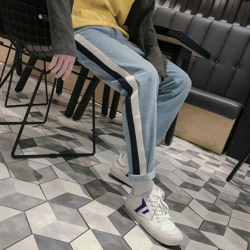 2018 Winter Men's Japan Style Classic Baggy Straight Leg Pants Thicken Casual High Quality Casual 2 Color Jeans Trousers S-2XL