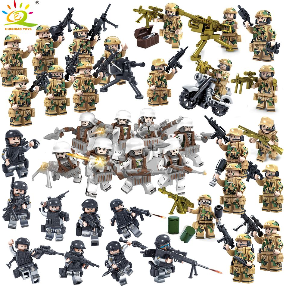 8PCS Military Swat Team Army Germany soldiers Weapons Guns Figure WW2 Blocks Blocks children Toys Compatible Legoed City Police