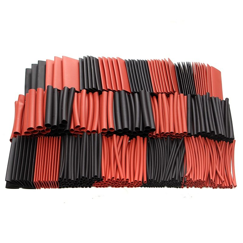 428pcs Red Black Polyolefin H-type Heat Shrink Tubing Tube Sleeve Sleeving Cable Wrap Wire Kits Assorted Wrap