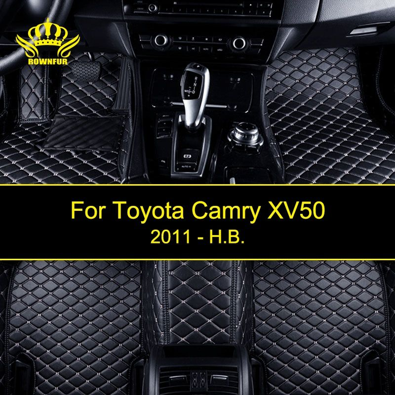 ROWNFUR Waterproof Car Floor Mats For Toyota Camry XV50 Custom Leather Floor Mat Car-styling Interior Car Carpet Mat