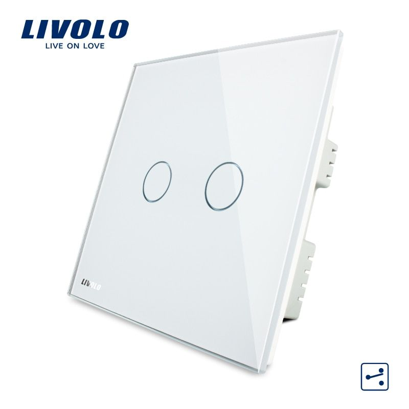 Livolo Crystal Glass Panel, Wall Switch, AC 220-250V VL-C302S-61/62/63,2 Gangs 2 Ways, Touch Screen Home Light UK Switch
