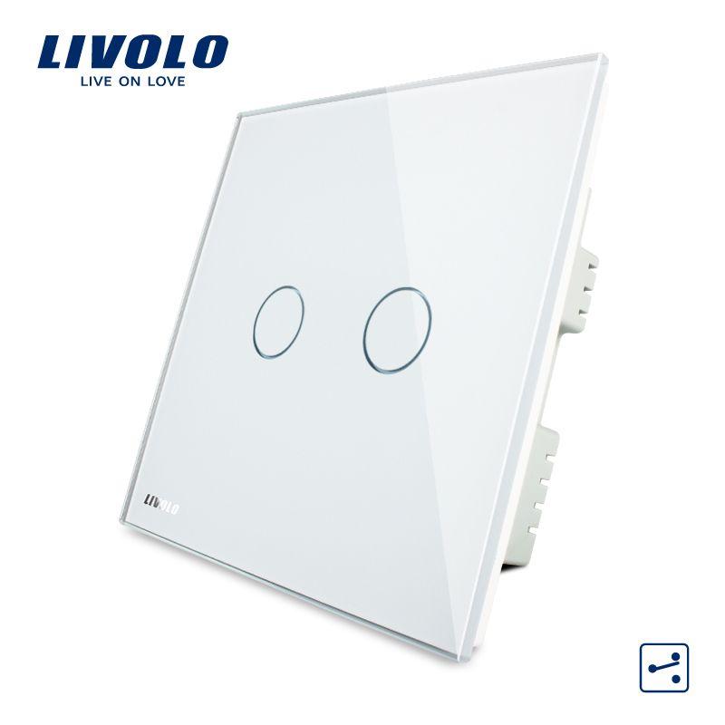 Livolo Weiß Kristallglas-verkleidung, Wandschalter, AC 220-250 V VL-C302S-61, 2 Banden 2 Möglichkeiten, Touchscreen Licht UK Schalter