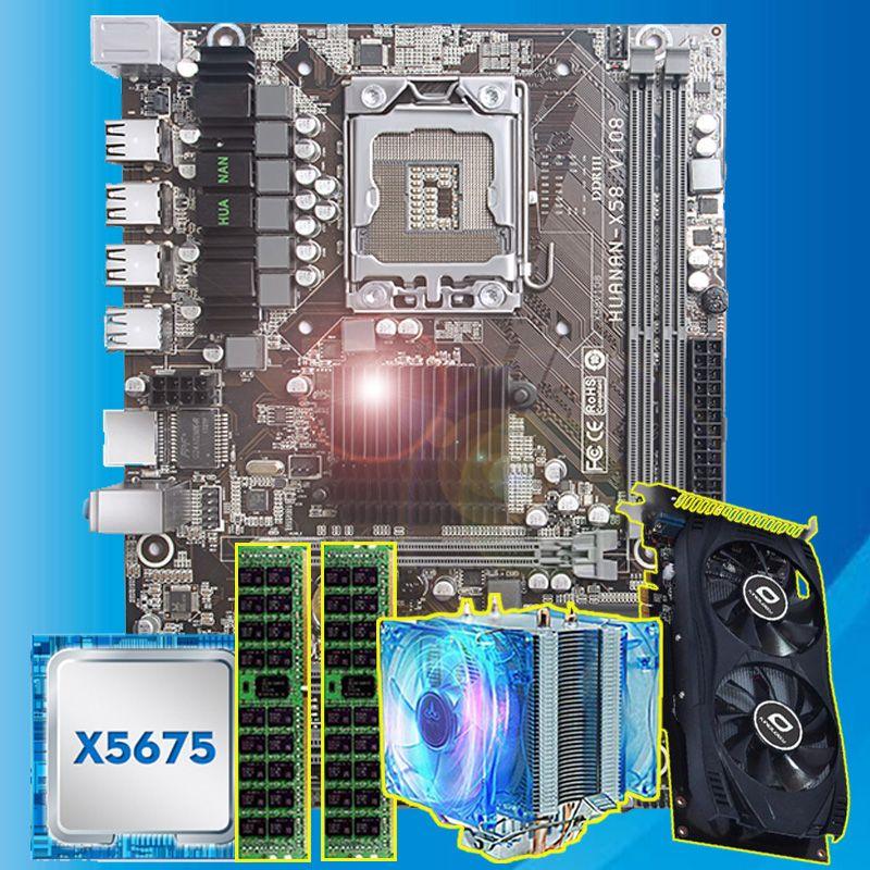 Gute HUANAN ZHI X58 motherboard mit CPU Intel Xeon X5675 3,06 GHz mit kühler GPU GTX750Ti 2G video karte (2*4G) 8G REG ECC speicher