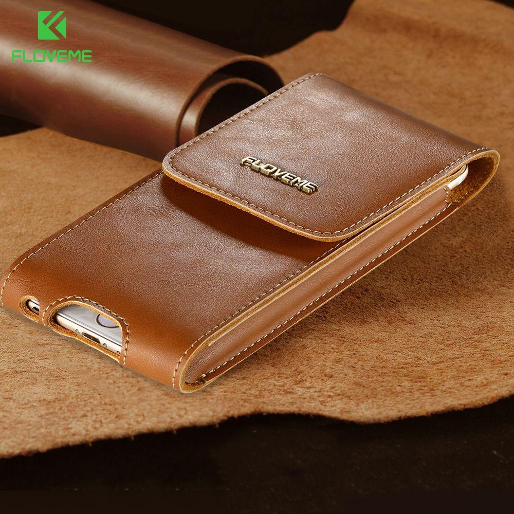 FLOVEME En Cuir Téléphone Sacs Pour iPhone 6 6 s 7 Plus Couvercle du Boîtier haute Qualité Taille Sacs Poche pour Samsung S8 S7 S6 bord Cas sacs