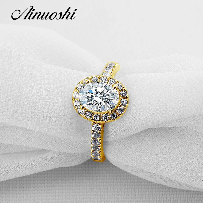 AINUOSHI Klassische Oval Halo Gold Ring 14K Solid Gold Pflastern Einstellung Band 1,25 CT Lab Grown Diamant Frauen Hochzeit engagement Ringe