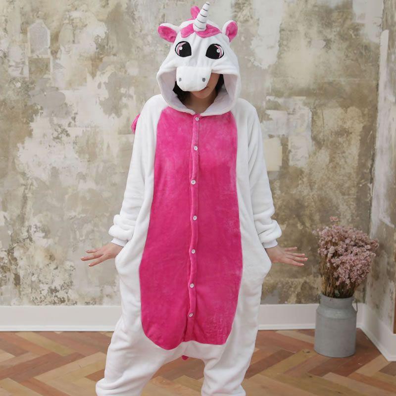 Cute Cartoon Animal Pink Stitch Unicorn Cat Rabbit Pajamas Winter Adult Unicorn Pajamas Long Sleeve Flannel Pajamas For Women