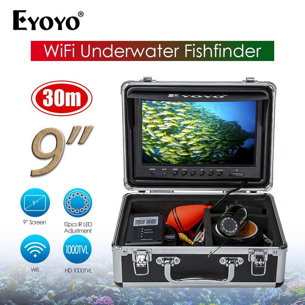 EYOYO WF09W 9inch LCD WIFI Infrared Black 12VDC Ocean River Lake Sea Boat Fishing Camera Fish Finder APP Waterproof Night Vision