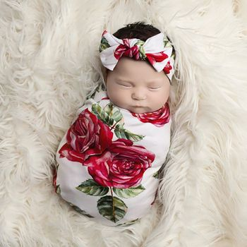 Red Rose Floral Newborn Swaddle Set Baby Blankets + Headband Muslin Swaddle Newborn Baby Sleeping Swaddle Wrap