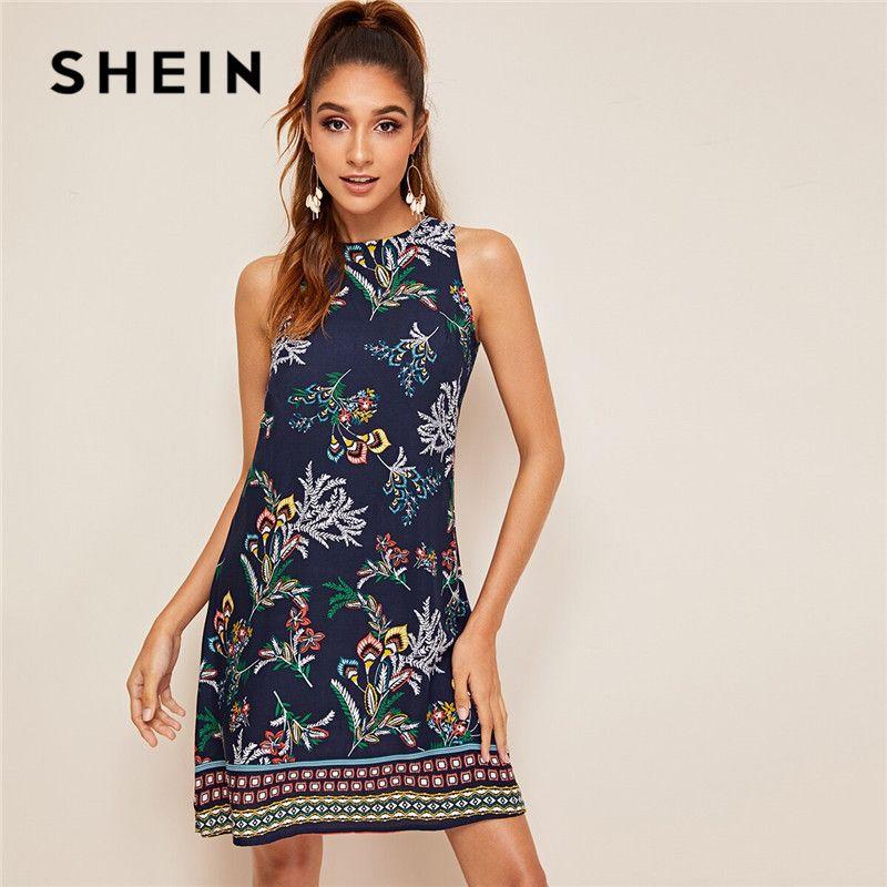 SHEIN aztèque imprimer trou de serrure dos robe d'été sans manches col rond droite femmes robes Boho Floral réservoir Mini robe