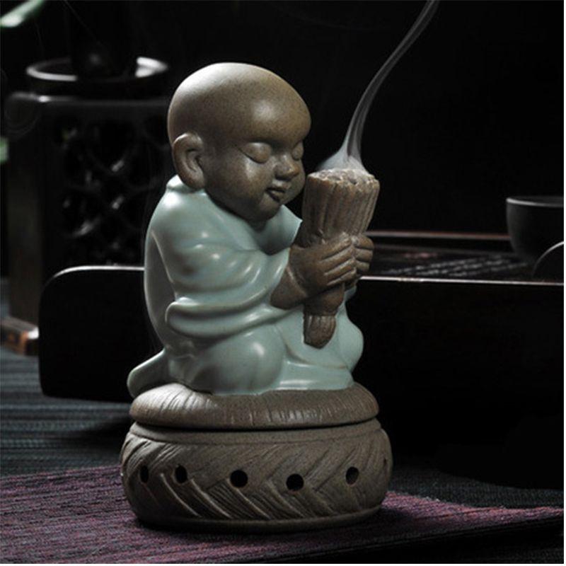 Brûleur en céramique base d'encens moine bouddha statues bobine de bois de santal décor à la maison statue figurine bouddha souhaitant bougie four base