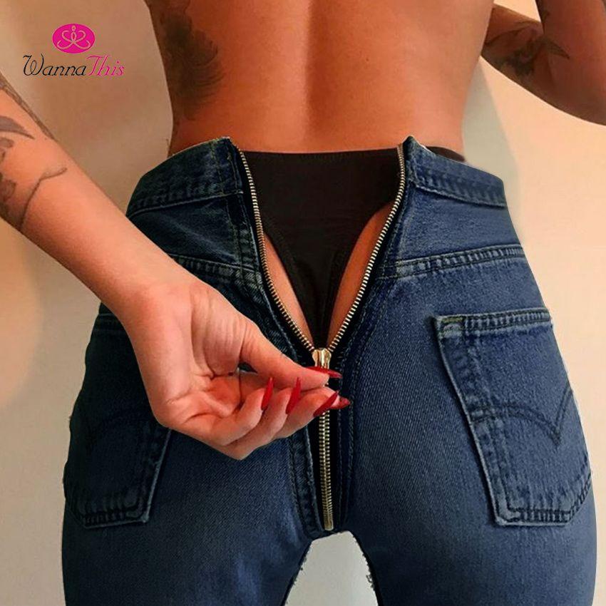 WannaThis Long Jeans Women Basic Classic High Waist Skinny Pencil Blue Denim Pants 2017 Autumn Back Zipper Elastic Stretch Jeans