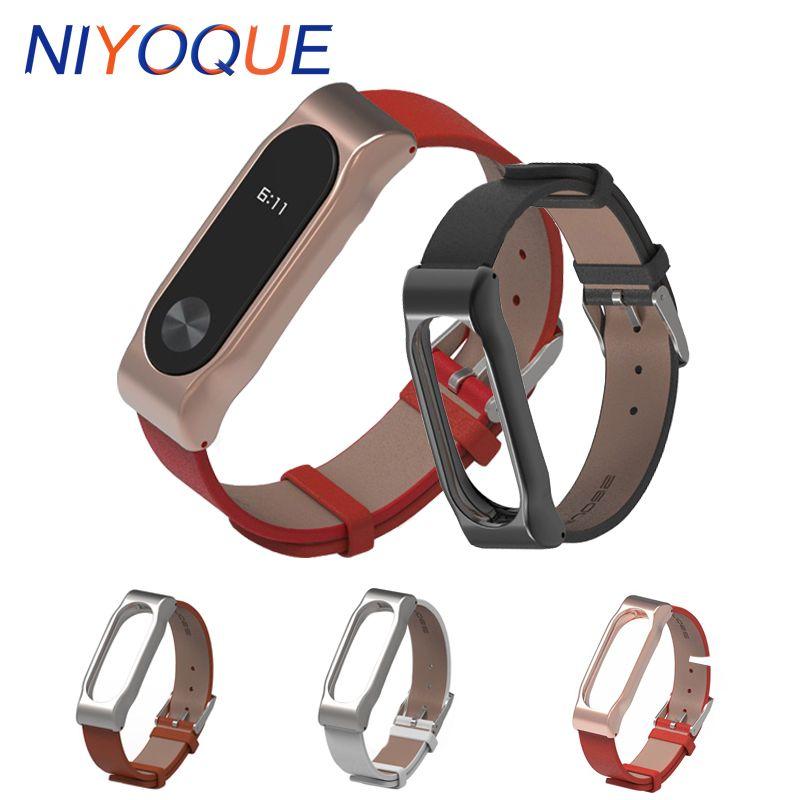 Original pour Xiaomi Mi Bande 2 En Métal Bracelet En Cuir Ceinture Bracelet Pour Mi Bande 2 Intelligente MiBand 2 Remplacement Bracelet