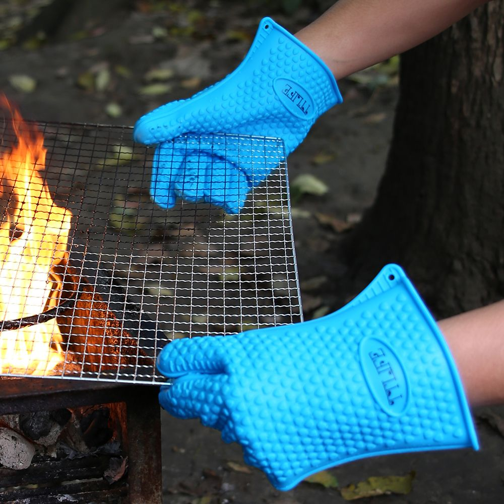 TTLIFE Thick Silicone BBQ Glove Kitchen Grilling Oven Mitts Non-Stick Pot Heat Proof Resistant Roaster Mitt Pot Baking Tools