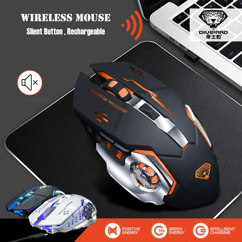 IceRay Rechargeable Wireless Mouse Slient Mute Click Computer Gaming Built-in Battery with Charging <font><b>Cable</b></font> For PC Laptop
