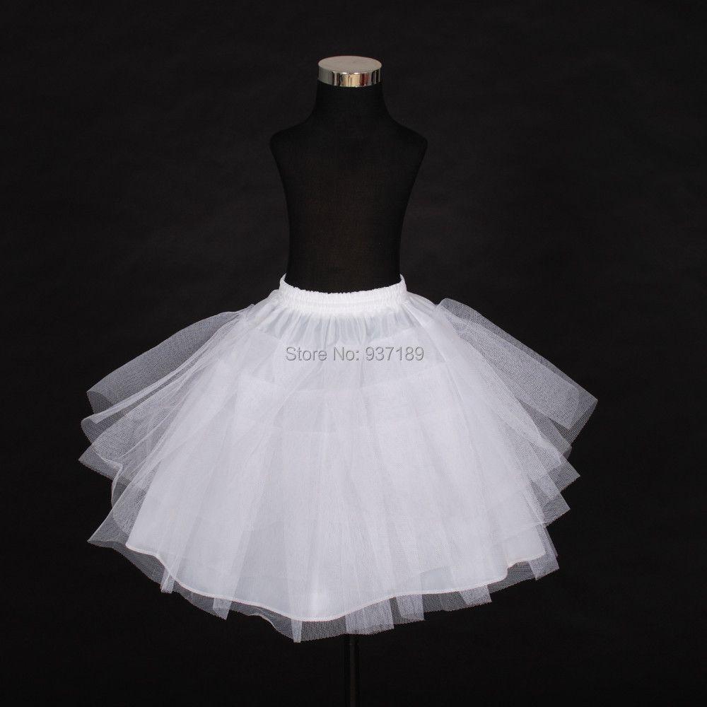 2017 Envío Libre de Calidad Superior Stock Red De Tres Capas Blanco Niña de las Flores A-Line Vestido de La Enagua/Niño Crinolinas/Underskirt