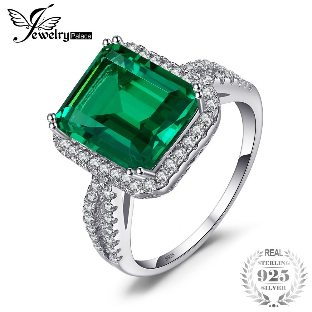 JewelryPalace 5.5ct Emerald Ring Solid 925 Sterling Silver Romantic Classic Ring Brincos Wholesale <font><b>Promotion</b></font> Free Shipping