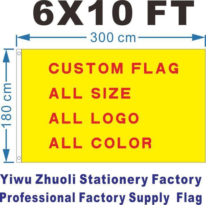 Drapeau personnalisé 300X180 cm (6x10FT) 100D Polyester pas cher prix et haute qualité n'importe quelle taille n'importe quelle couleur n'importe quel Logo livraison gratuite