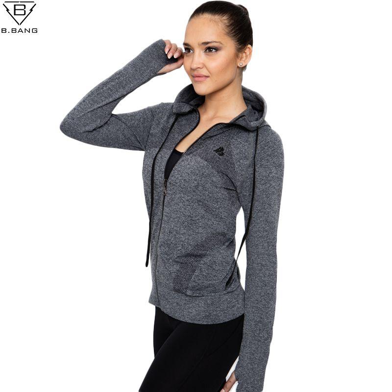 B. BANG 2016 Neue Frauen Sport Jacke Quick-dry langärmeligen Lauf Gym Sweatshirt Tuch Fitness Reißverschluss jacke Oberbekleidung chaquetas