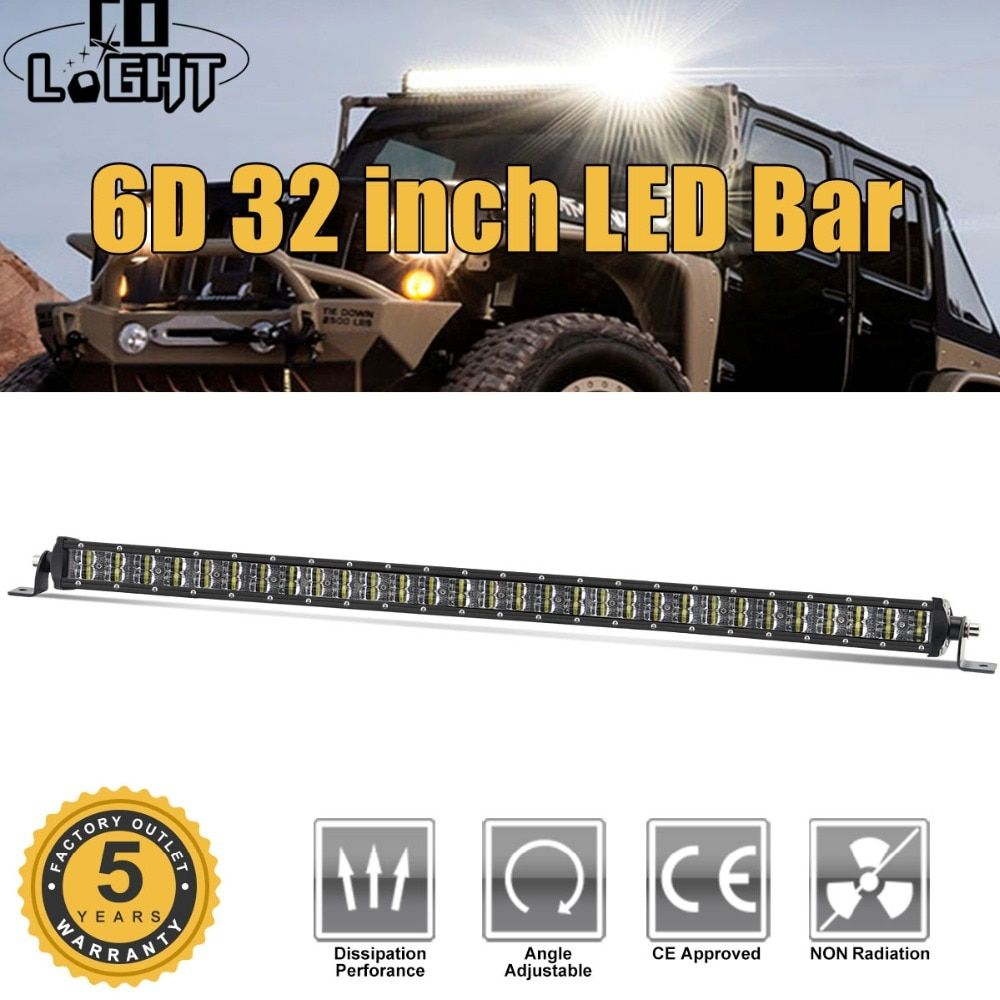 CO LIGHT Led Offroad Light Bar 6D 32inch 180W Led Bar Combo Auto Driving Work Lights for Truck Boat SUV ATV 4x4 4WD Jeep 12V 24V