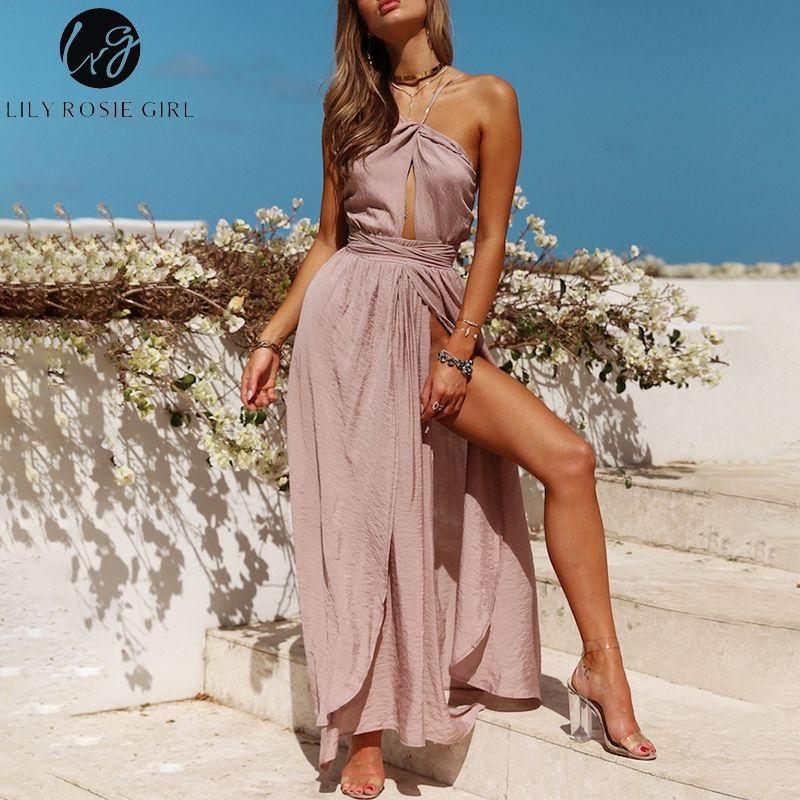 Lily Rosie Girl Sleeveless Halter Sexy Maxi Dresses 2018 Summer Backless Party Long Dress Women Split Elegant Beach Red Vestidos