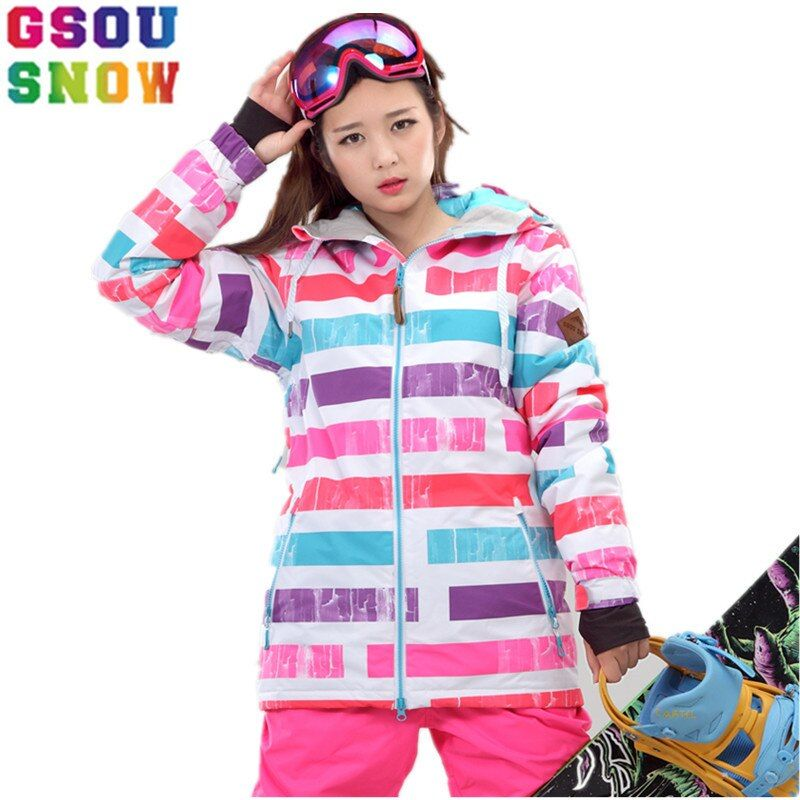 GSOU SNOW Brand Ski Jacket Women Colorized Snowboard Jacket Winter Ski Wear -30 Waterproof Skiing Clothing Female Snow Coats