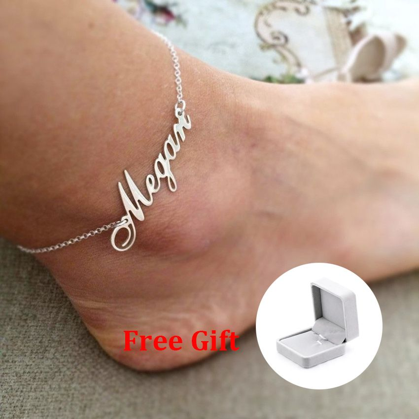 Personalized Name Letter Custom Bracelets Anklets For Women Rose Gold Silver Stainless Steel Chain Female Anklet Fashion Jewelry