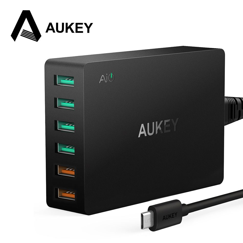 60W USB Charger AUKEY Quick Charge 3.0 6 Ports USB Mobile Phone Desktop Charger for Samsung iPhone 7/X/8/Plus Xiaomi redmi 5 etc