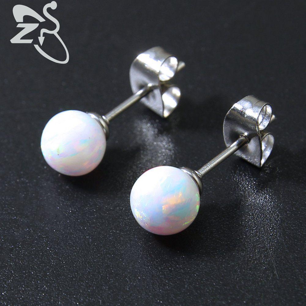 6mm blanc opale balle Stud Post boucles d'oreilles opale de feu Stud boucle d'oreille 925 en argent Sterling boucles d'oreilles opale en argent Sterling bijoux cadeau
