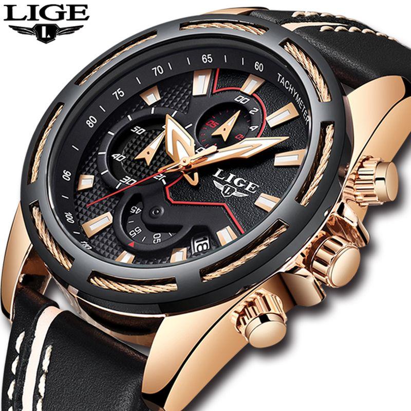 Relogio masculino Herren Uhren Top Brand Luxus LIGE männer Wasserdicht Militär Sport Uhr Männer Casual Leder Quarz Gold Uhr