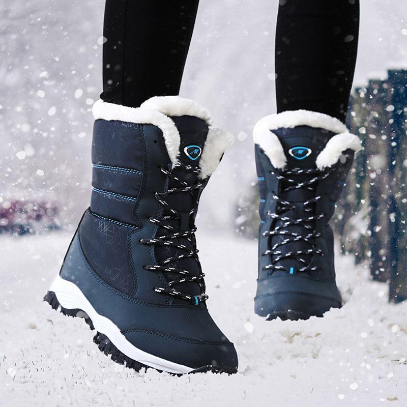 Femmes Bottes D'hiver Imperméables Chaussures Femmes Bottes de Neige Plateforme Garder Au Chaud Cheville Bottes D'hiver Avec Fourrure Épaisse Talons Botas Mujer 2018