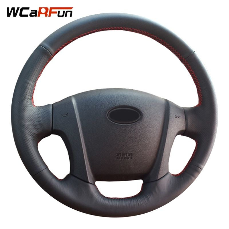 WCaRFun Hand-Stitched Black Artificial Leather Car Steering Wheel Cover for Kia Sportage 2 2005-2010 2009 Sportage