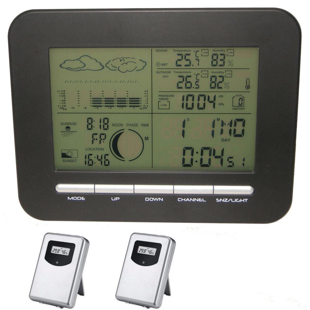 Accueil réveil Station météo sans fil avec baromètre/thermomètre/hygromètre + 2 émetteurs de température et d'humidité extérieurs