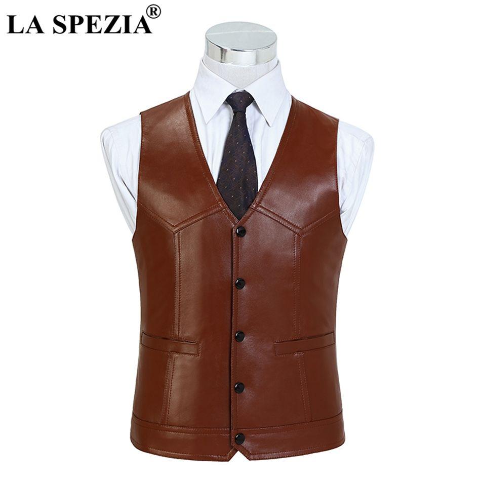 LA SPEZIA Brown Waistcoat For Men Genuine Sheepskin Leather Slim Fit Classic Vest Natural Leather Luxury Brand Sleeveless Jacket