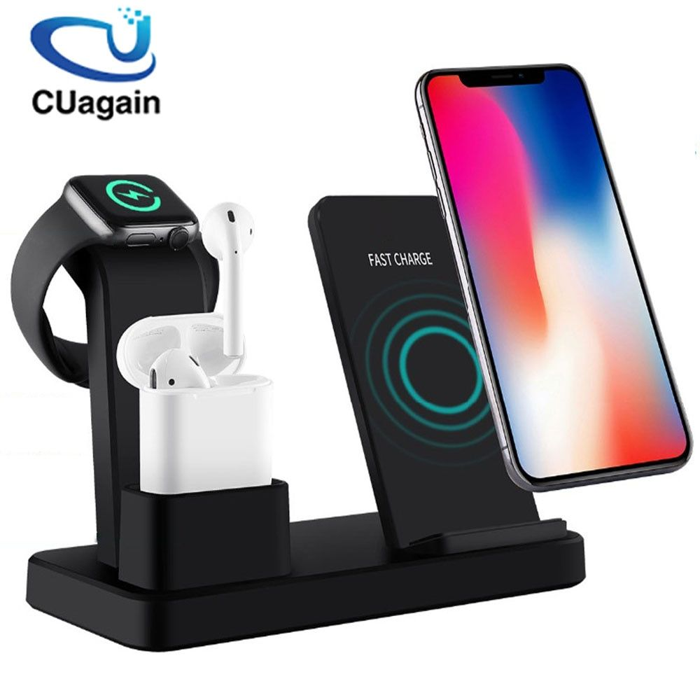 10W Qi Wireless Charger 3 in 1 Fast Charging for Apple Watch 1 2 3 4 Charge Dock Station for iPhone 8 XR XS Max AirPods Samsung