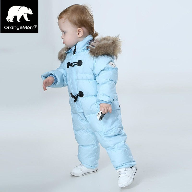 Orangemom jumpsuit kids winter baby snowsuit + nature fur , 90% duck down jacket for girls coats Winter Park for boys overalls