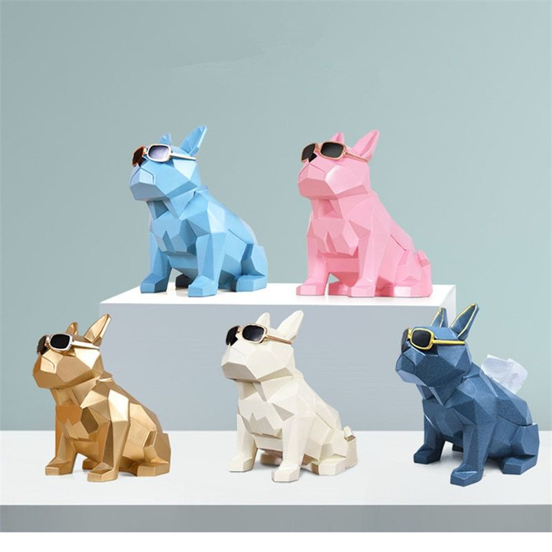 Creative Geometry Bulldog Tissue Holder Cassette Paper Holder Pumping Tray Living Room Coffee Table Decoration Dog Best Gift