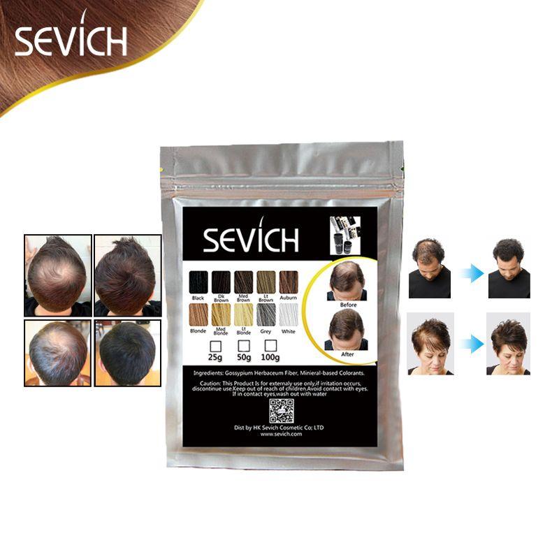 100g SEVICH kératine Cheveux De Construction En Fibers Perte Amincissement des Cheveux Colorant Style Poudre Soins Des Cheveux Fibre Recharge De Spray Applicateur 10 couleurs