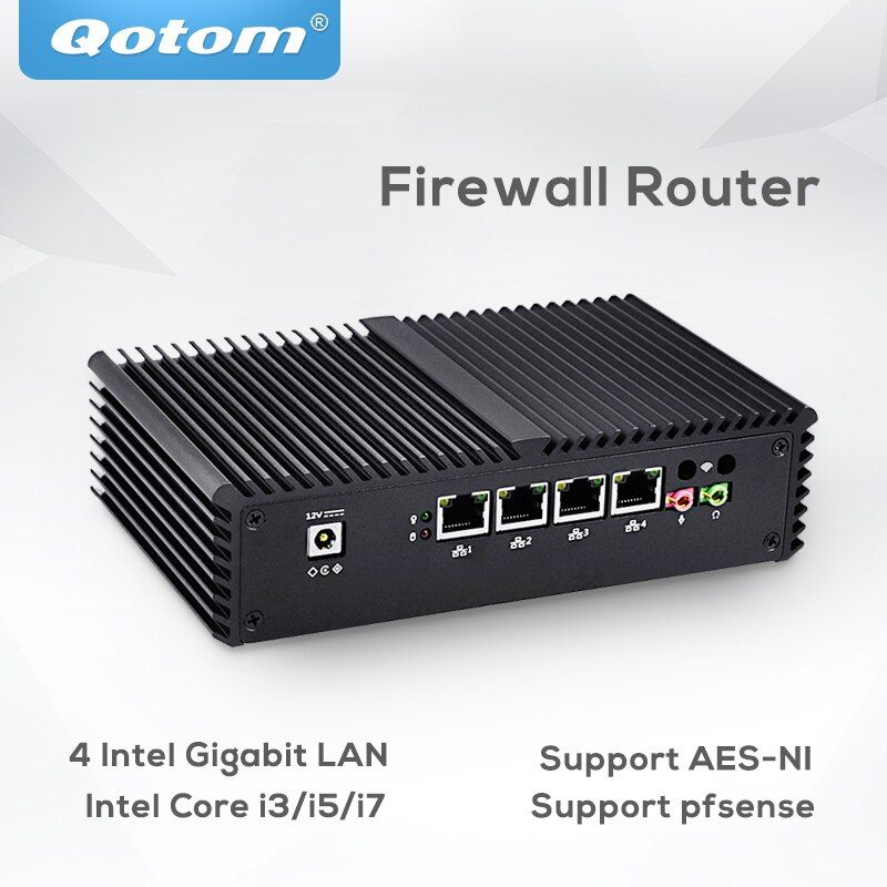 Pfsense Qotom Mini Pc 4 Gigabit Micro pc Core i3 i5 i7 Fanless Mini PC Computer AES-NI pfsense Firewall router thin Client