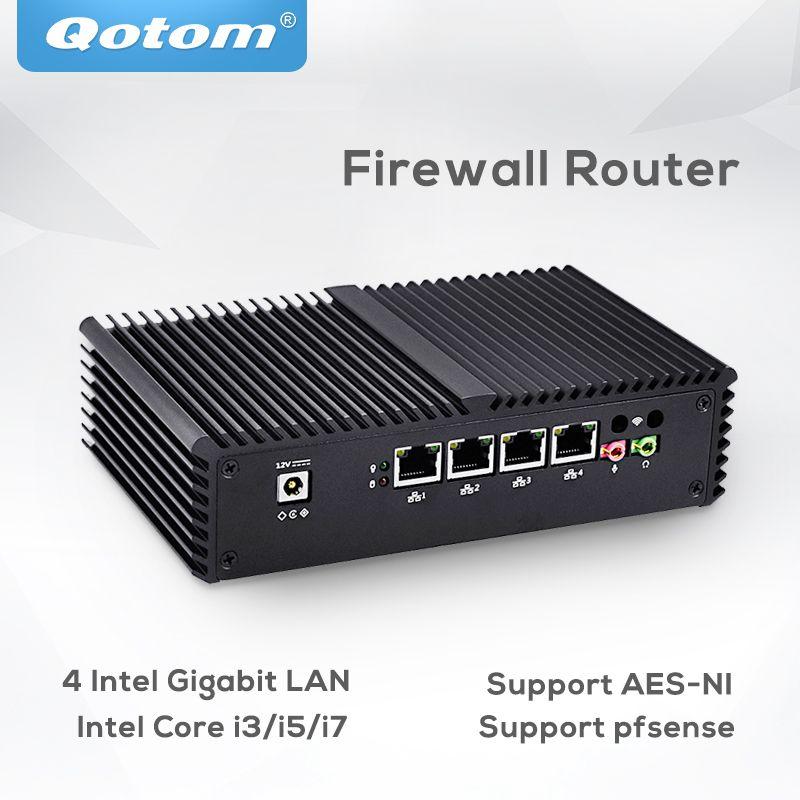 Pfsense Qotom Mini Pc 4 Gigabit Micro pc Core i3 i5 i7 Fanless Mini PC Computer AES-NI pfsense Firewall router Thin Client