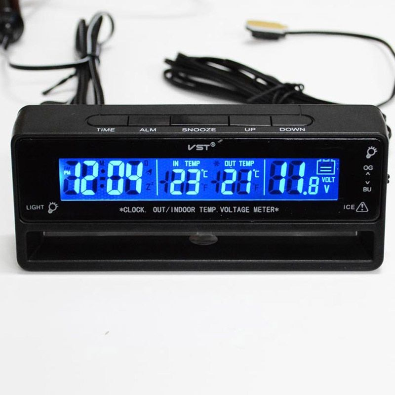 3 in 1 Auto Car Clock Thermometer voltmeter auto accessories Car Thermometer Voltage Temperature Monitor hours in the car watch