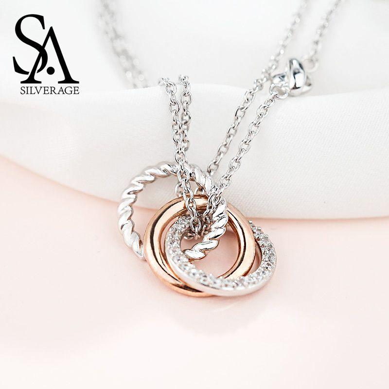 SA SILVERAGE 925 Sterling Argent Long Colliers Pendentifs pour Femmes Rose Or Couleur bijoux fins 925 Argent Maxi Sautoirs Collier