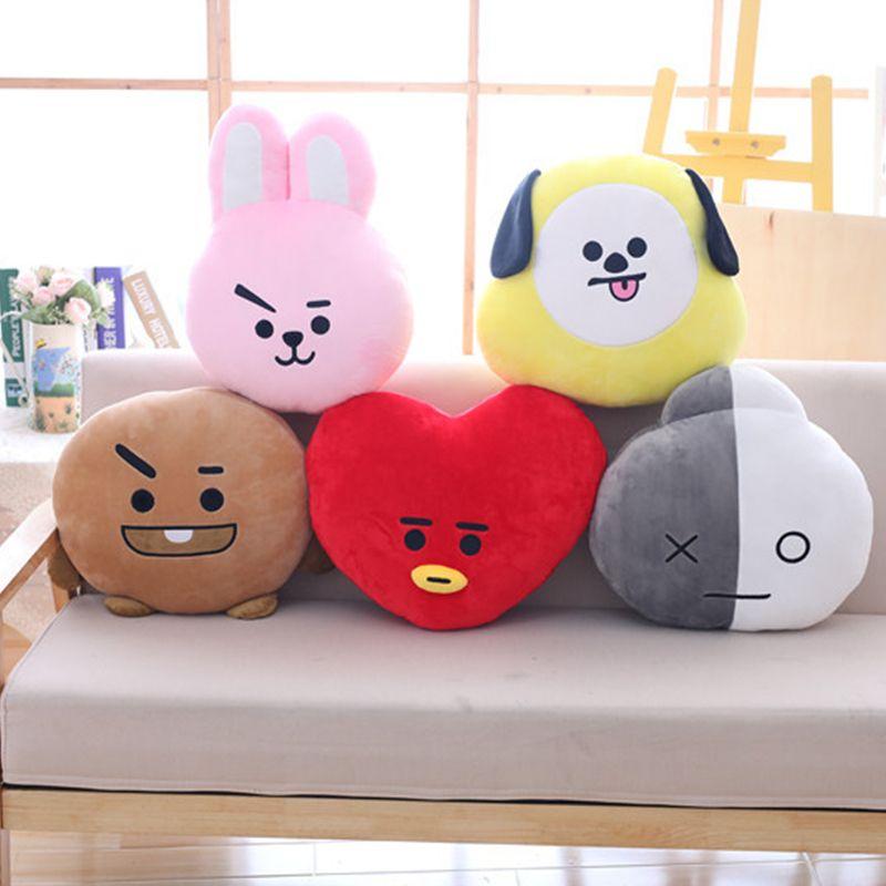 2018 New ARMY BTS Kpop Bangtan Boys Bt21 Kawaii Pillow Plush Warm Bolster Q Back Doll TATA VAN COOKY CHIMMY SHOOKY