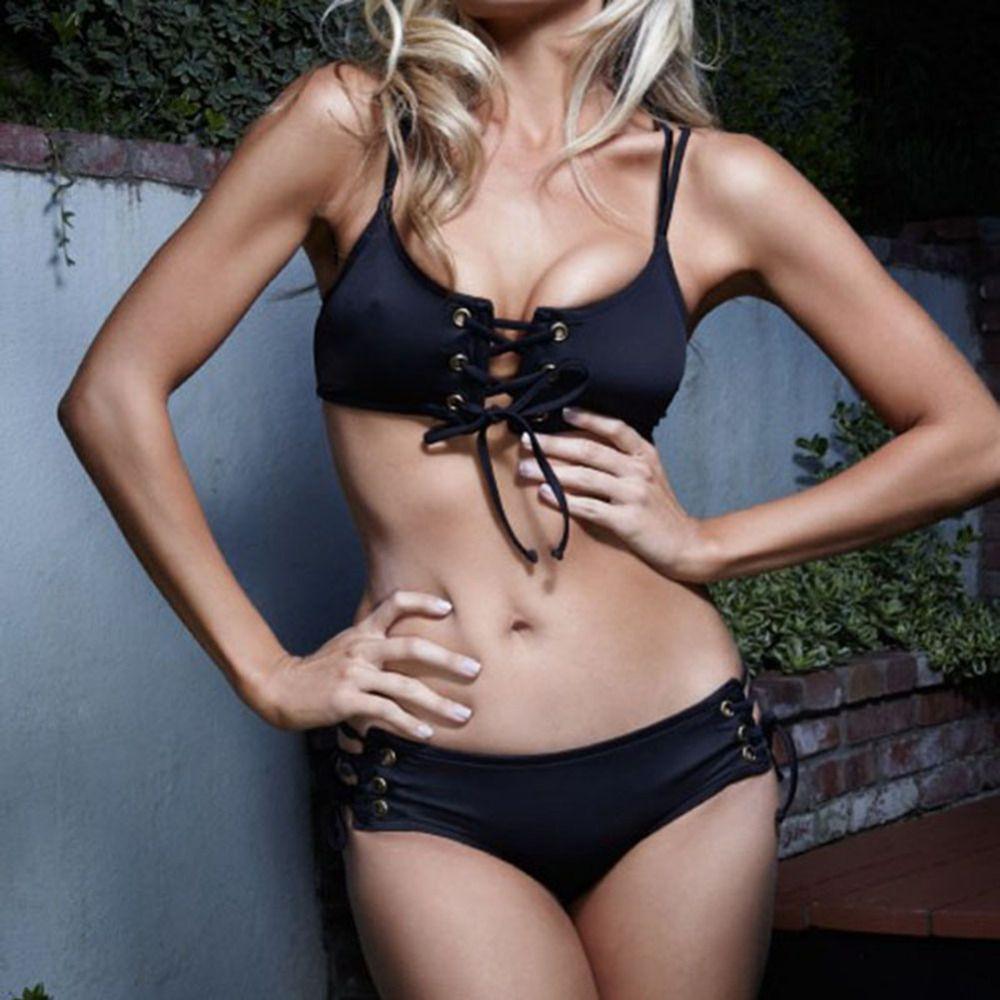 2018 Summer Sexy Women Bikini Set Black Drawstring Strap Hollow Chest Push Up Swimsuit Bathing Suit Beachwear Plus Size S-XL